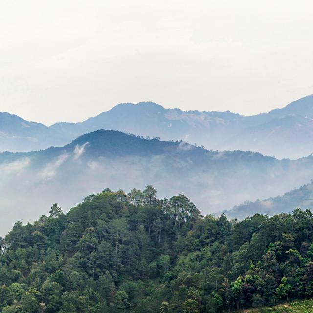 """""""a landscape photo of Zacatlán de las Manzanas in the state of Puebla, Mexico"""" stock image"""