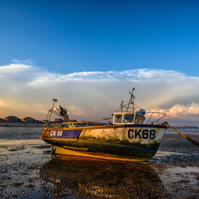 """""""Martello Beach Mooring With Weather Front Approaching"""" stock image"""