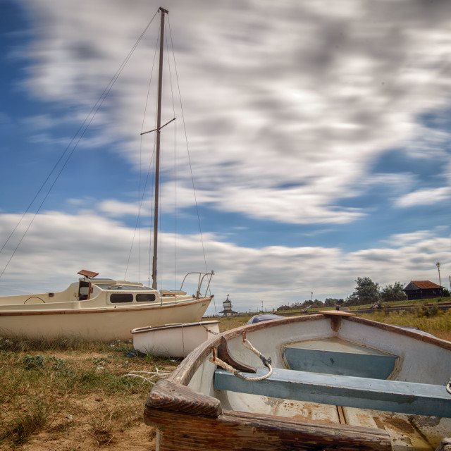 """""""Moored Boats on Harwich Beach"""" stock image"""