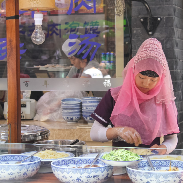 """Chinese Muslim Noodle Vendor"" stock image"