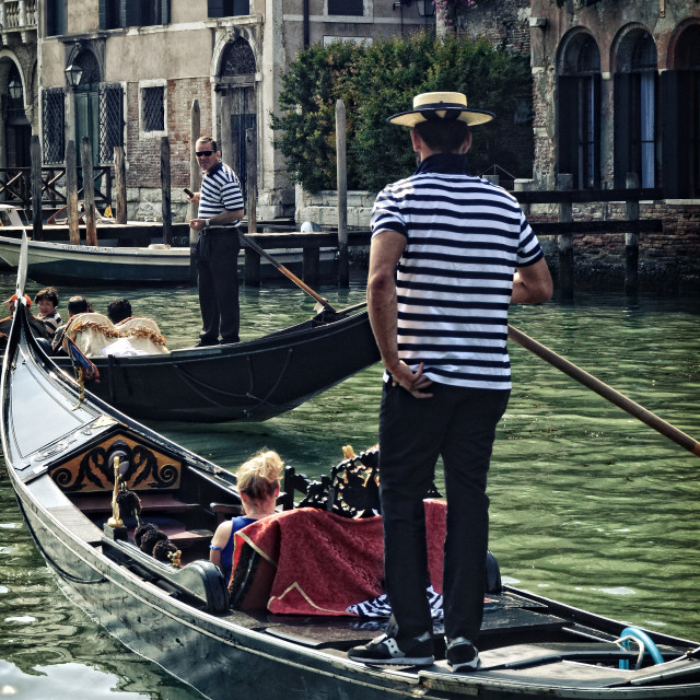 """Gondolier on the Grand Canal in Venice"" stock image"