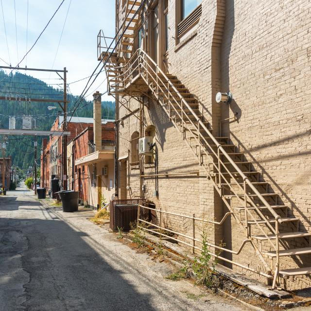 """""""Narrow Alley in Wallace, Idaho"""" stock image"""
