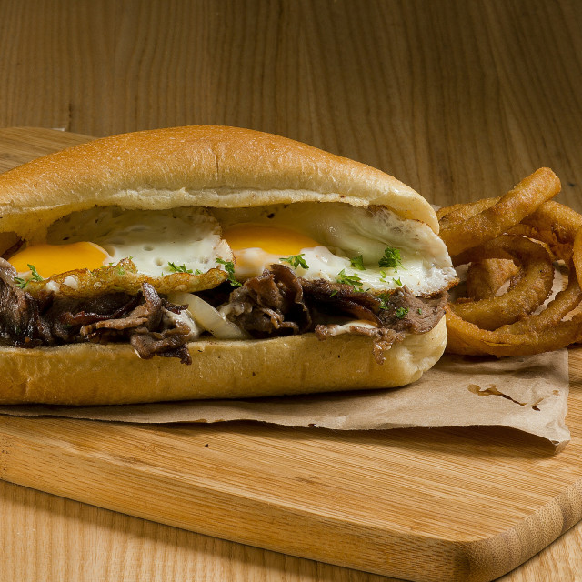"""steak and eggs sandwich"" stock image"