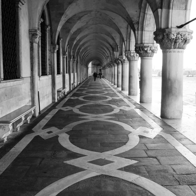 """An arched walkway in Venice, Italy"" stock image"