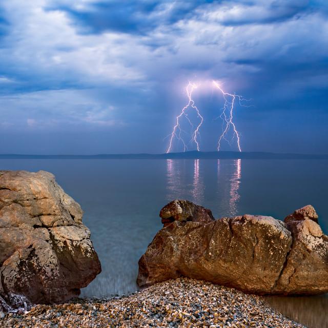 """Electric storm over Hvar Island from Tucepi, Croatia."" stock image"