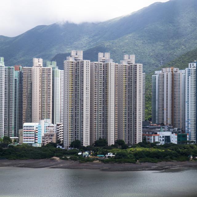 """""""Hong Kong : View on Nong Ping cable car"""" stock image"""