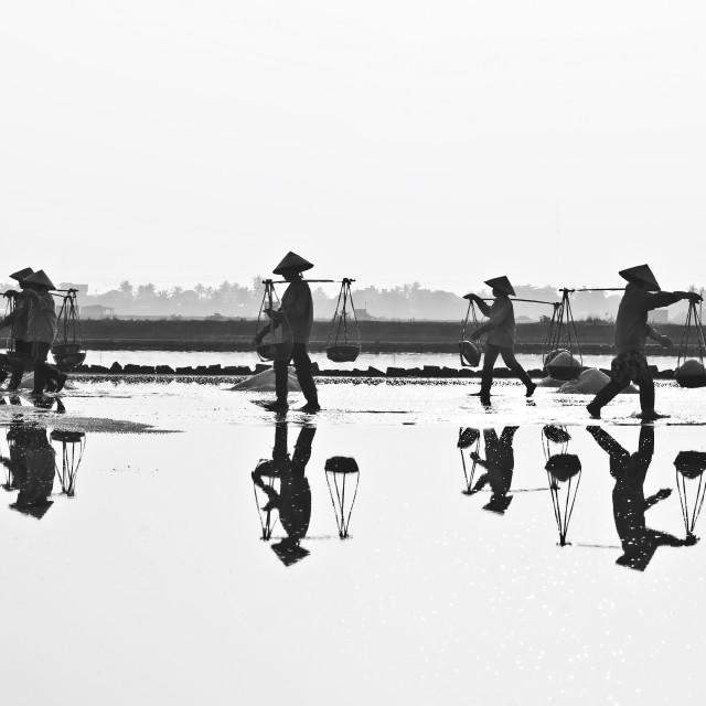 """Salt field at Hon Khoi in Nha Trang, Vietnam."" stock image"