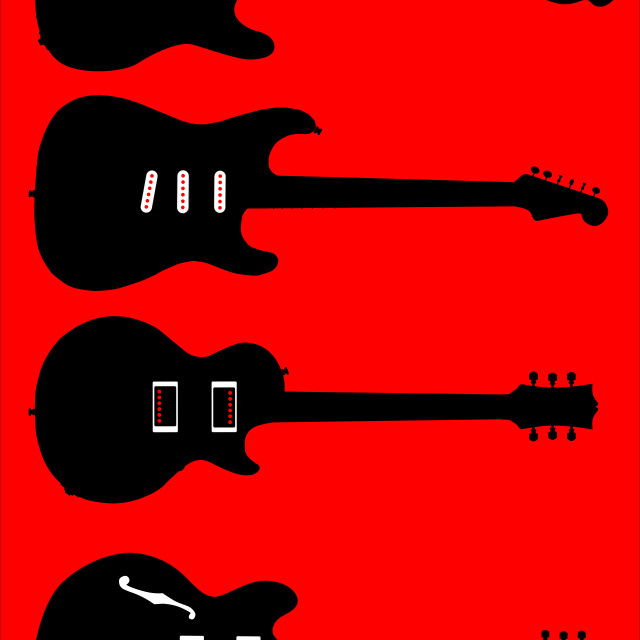 """""""Silhouette Guitar Collection"""" stock image"""