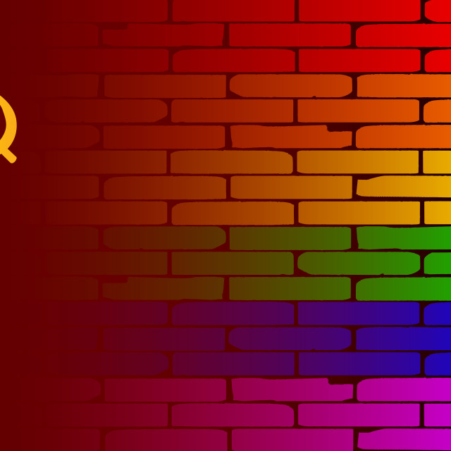 """Gay Rainbow Wall USSR Flag"" stock image"