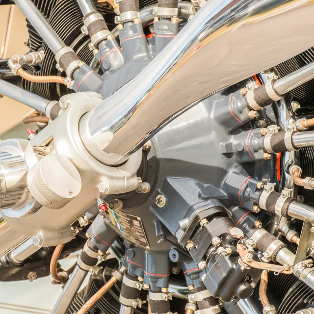 """vintage aircraft propeller engine"" stock image"