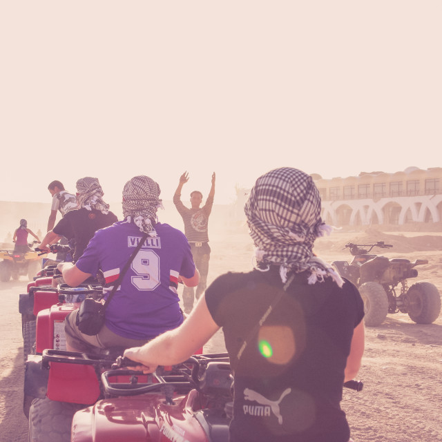 """Tourists on quad bikes in Egypt"" stock image"