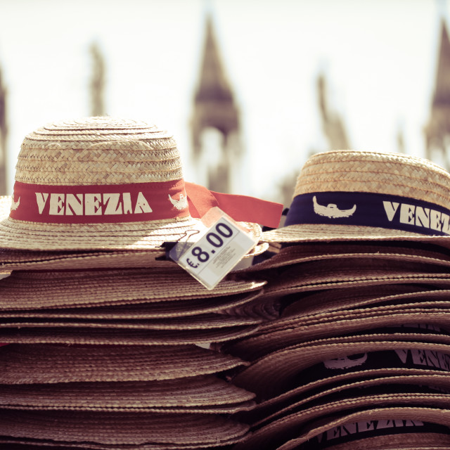 """straw hats for sale in venice, italy"" stock image"