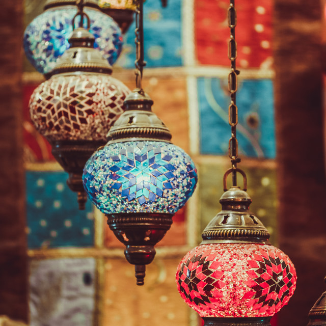 """Colourful lamps for sale on a market stand in Turkey"" stock image"