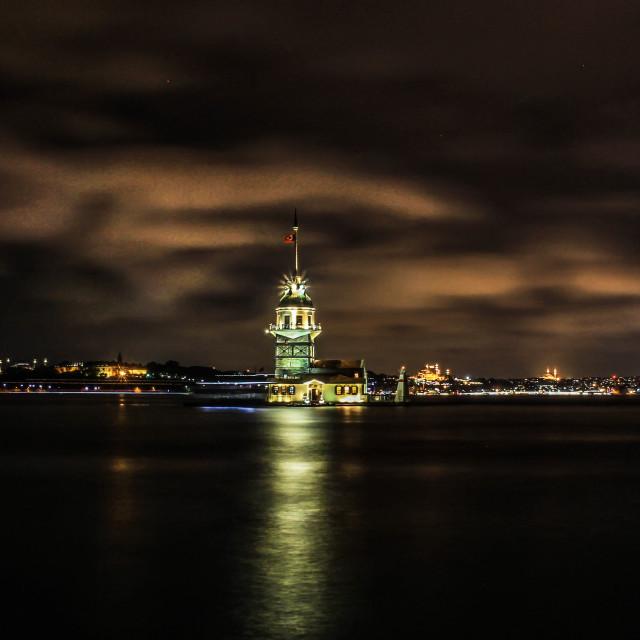 """Kiz kulesi at night"" stock image"