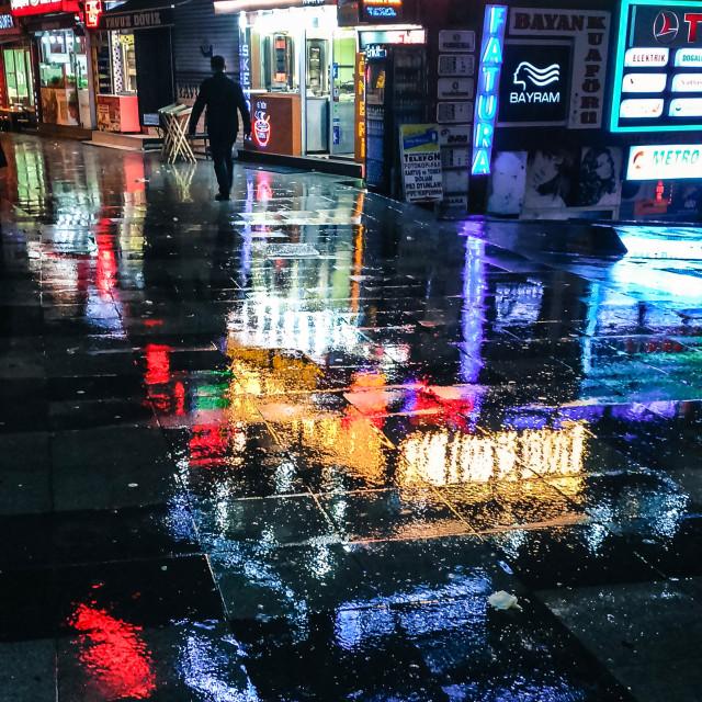 """A walk under the rain."" stock image"