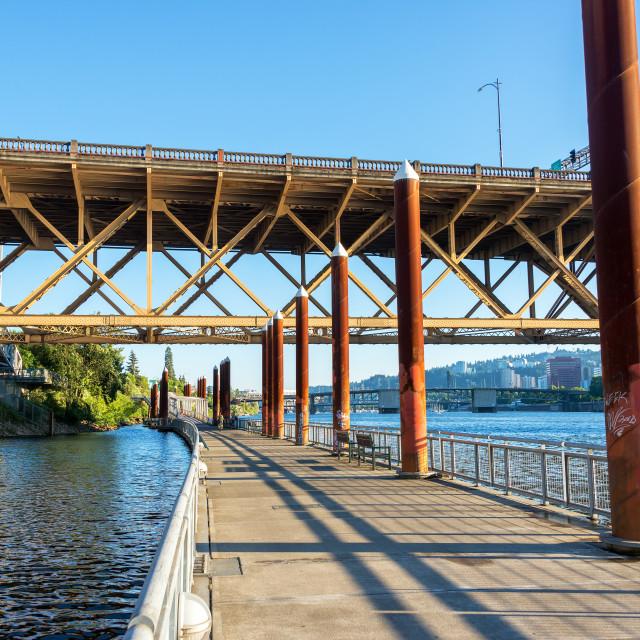 """""""Eastbank Esplanade in Portland, Oregon"""" stock image"""