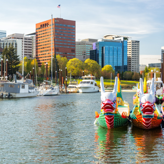 """Dragon Boats and Downtown Portland"" stock image"