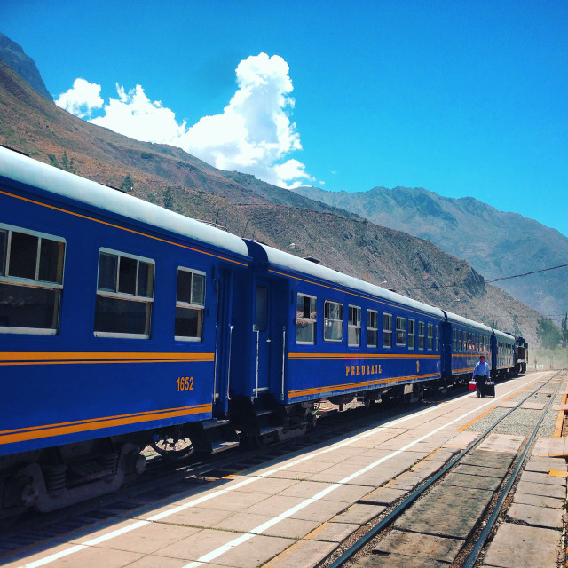 """Peru Rail at Ollantaytambo"" stock image"