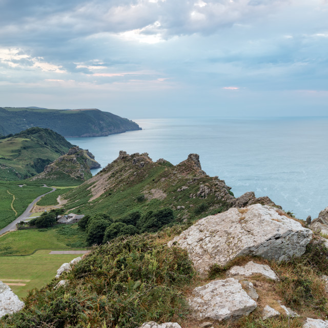 """""""Dusk at the Valley of the Rocks"""" stock image"""