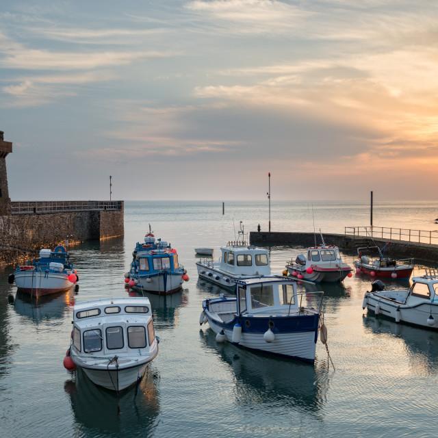 """Fishing Boats at Lynmouth"" stock image"
