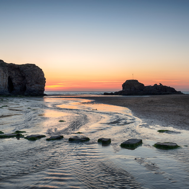 """Sunset at Perranporth Beach"" stock image"