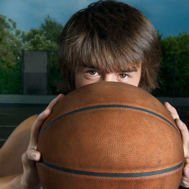 """Closeup of a basketball player"" stock image"