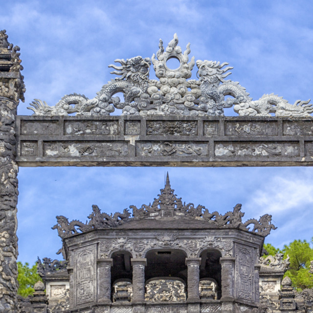 """Khai Dinh imperial tombs, entry columns , Hue, Vietnam"" stock image"
