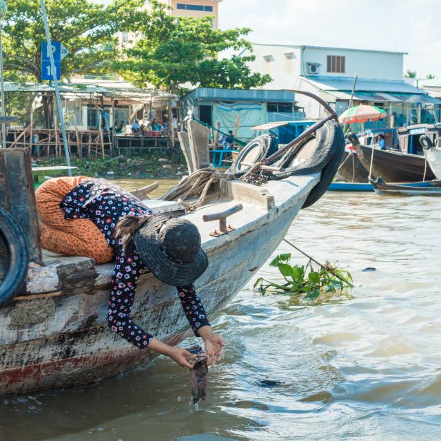 """Mekong floating market"" stock image"