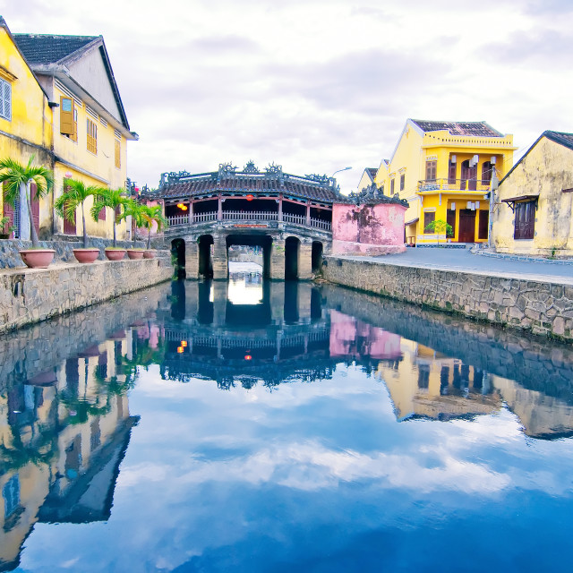 """Japanese Bridge in Hoi An ancient town, Vietnam. Unesco World Heritage Site."" stock image"