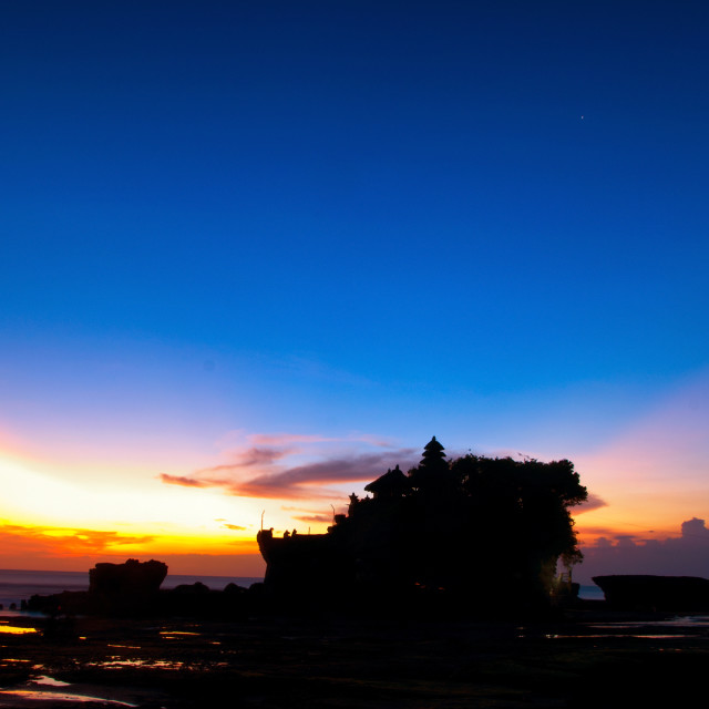 """Tanah Lot Temple at sunset, the most important indu temple of Bali, Indonesia."" stock image"