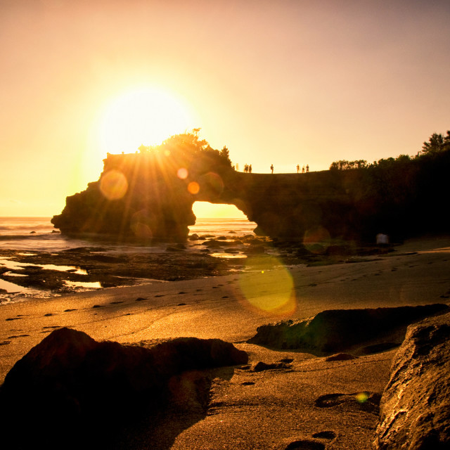 """""""Tanah Lot Temple at sunset, the most important indu temple of Bali, Indonesia."""" stock image"""