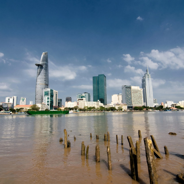 """Saigon downtown skyline are reflected in the river, Ho Chi Minh city, Vietnam"" stock image"