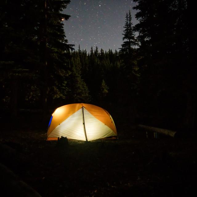 """Stars over Devil's Lake Oregon"" stock image"