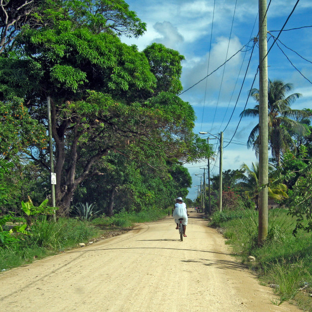 """Woman cycling in the Caribbean"" stock image"
