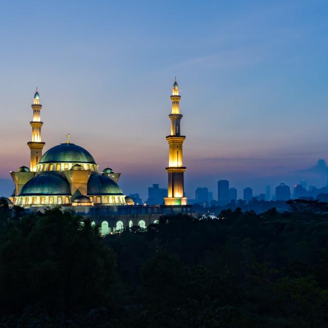 """The Federal Territory mosque, Kuala Lumpur Malaysia at sunrise"" stock image"
