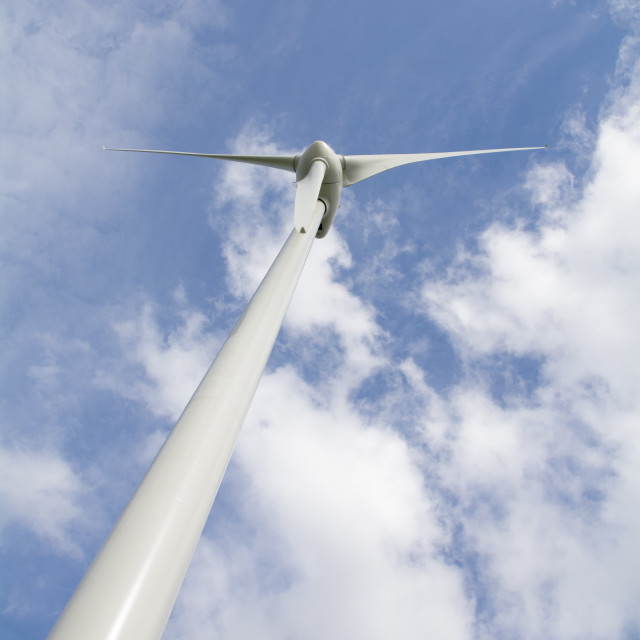 """Wind Turbine - from beneath"" stock image"