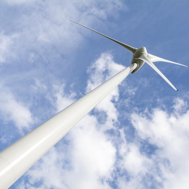 """Wind Turbine from below"" stock image"