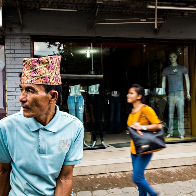 """Men in Kathmandu"" stock image"