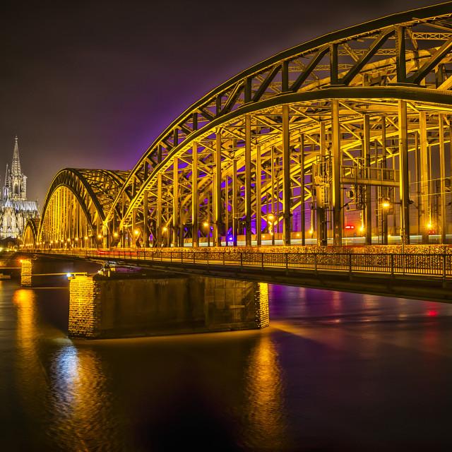 """Koln Hohenzollernbrücke gate and Rhine river"" stock image"