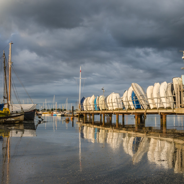 """""""Daybreak at the dinghy park"""" stock image"""