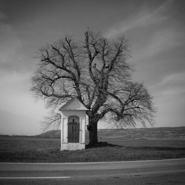 """Small white chapel BW"" stock image"