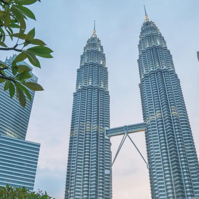 """Petronas Twin Towers, KLCC at dusk"" stock image"