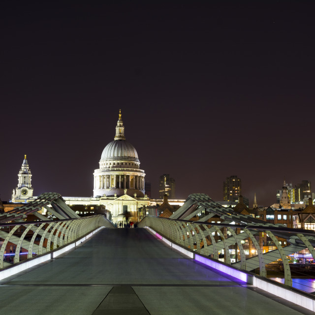 """St Paul's from the millennium Bridge at night"" stock image"
