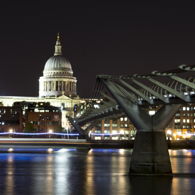 """St Paul's and the millennium Bridge at night"" stock image"