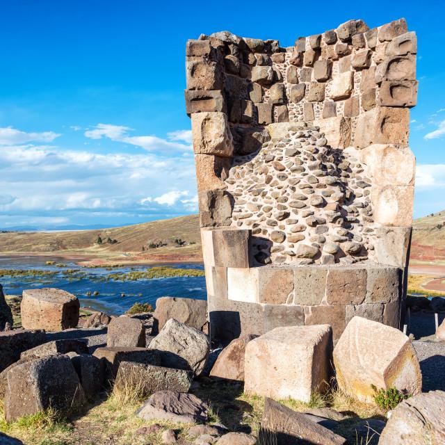 """Damaged Funerary Tower"" stock image"