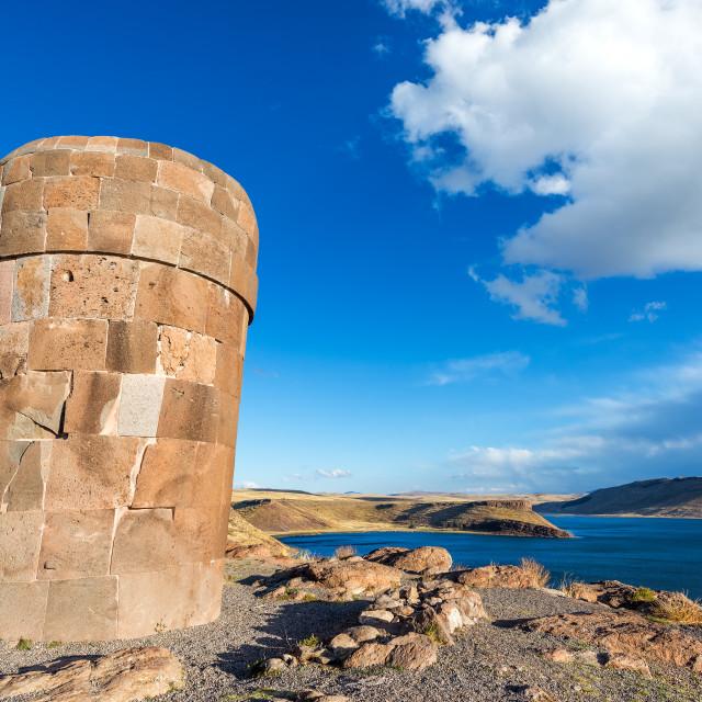 """Pre Incan Funerary Tower at Sillustani"" stock image"