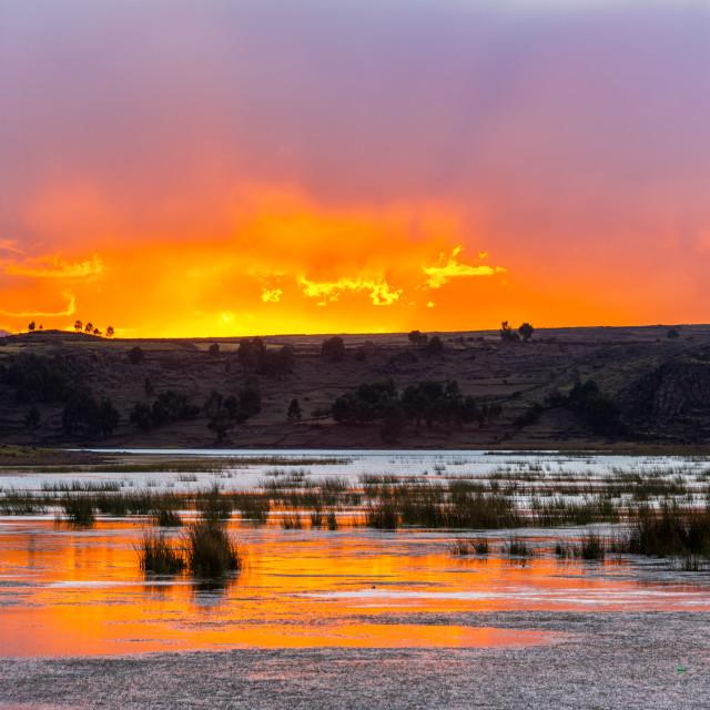 """""""Sunset over Lake Umayo"""" stock image"""