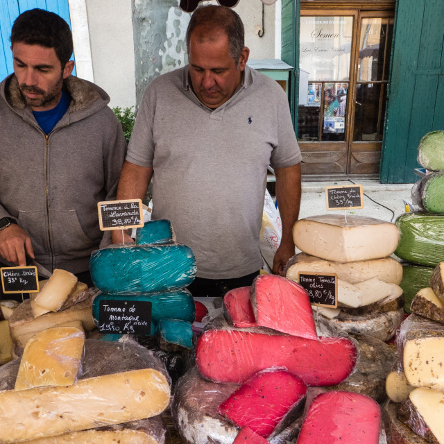 """""""Multi-Coloured Cheeses at the Banon Cheese Festival, France"""" stock image"""