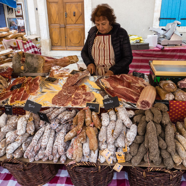 """Cured Meats at the Banon Cheese Festival, France"" stock image"