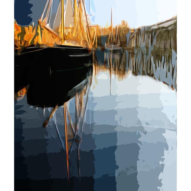 """Poster Art Charlestown"" stock image"